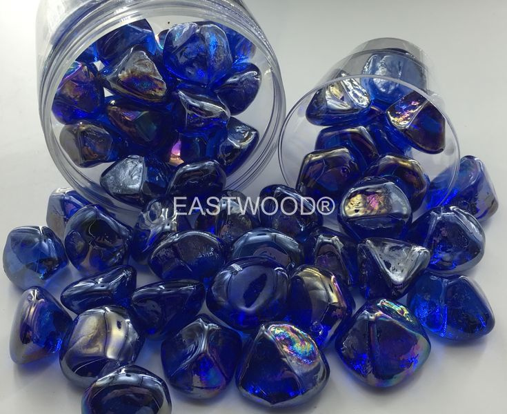 Dark blue diamond nuggets Fire Glass-
