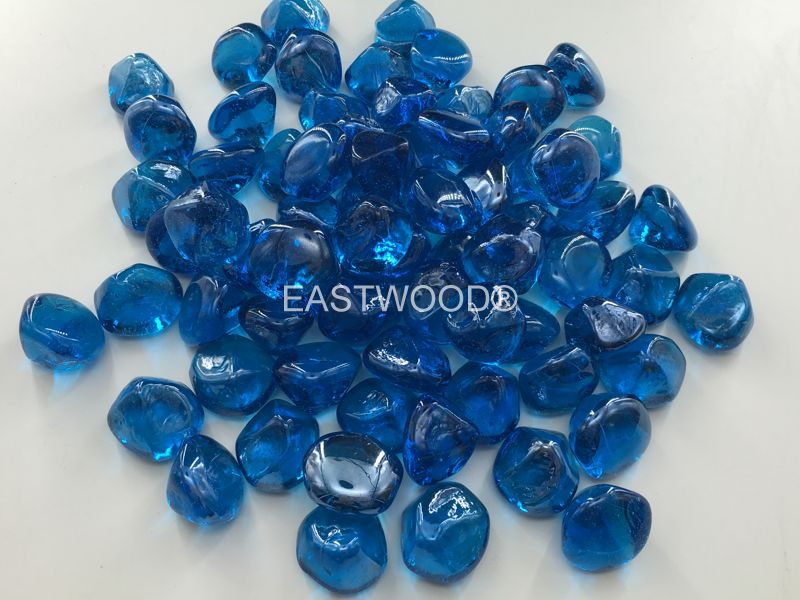 Ocean Blue diamond nuggets Fire Glass-
